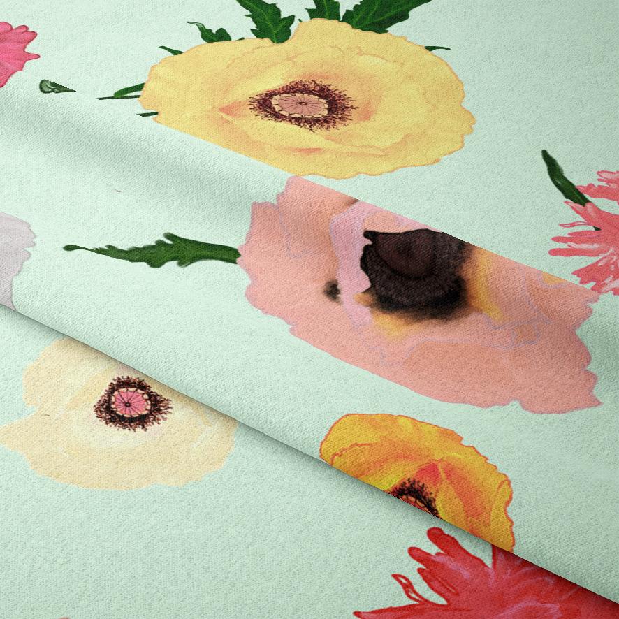 poppy laying fabric