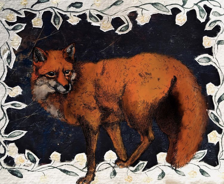 fox mixed media collage