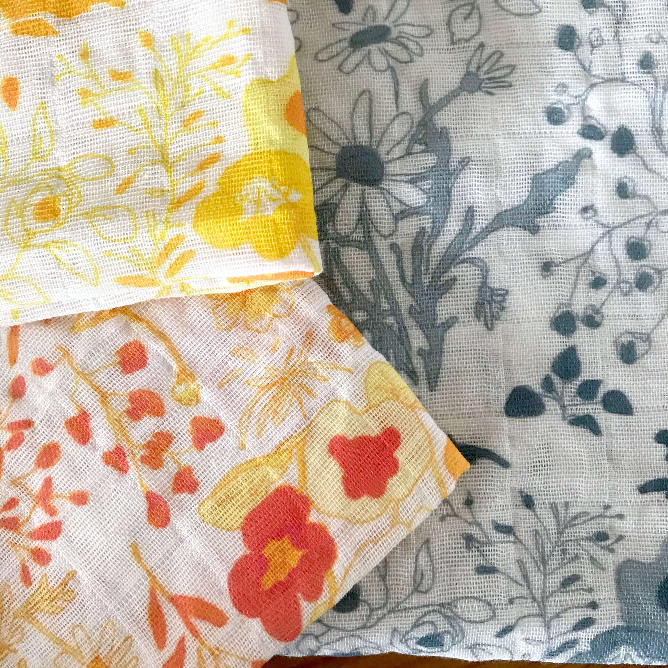 muslin fabric with wild flower design in three colour ways